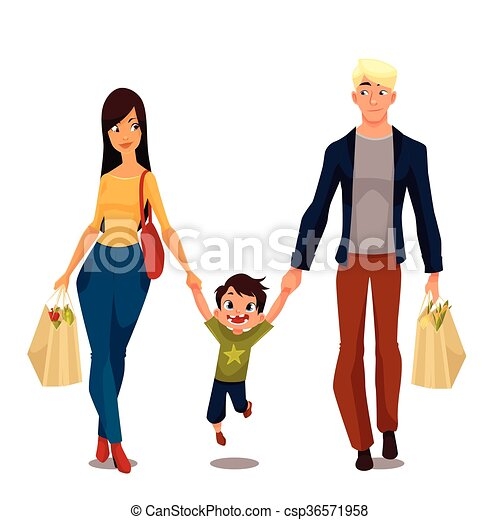 Clipart Vector of Pretty family with packages from shop - Family ...