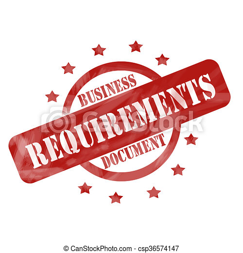 Drawing Of Red Weathered Business Requirements Document Stamp