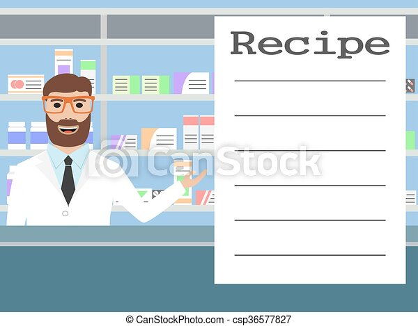 Pharmacist standing near shelves with medications - csp36577827
