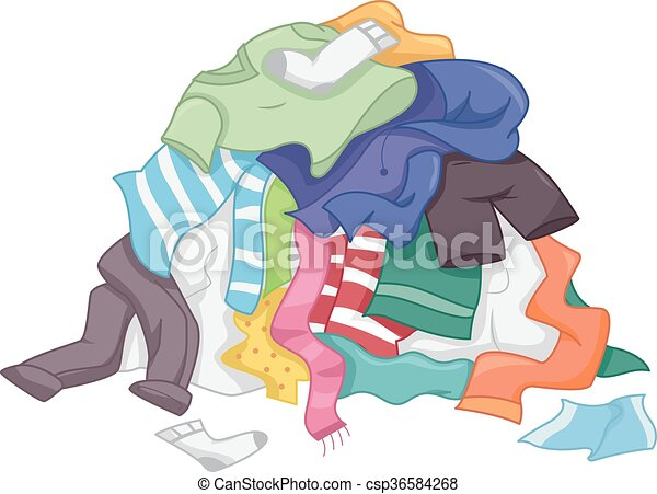 clip art vector of laundry pile clothes illustration Laundry Basket with Clothes Clean Laundry Clip Art