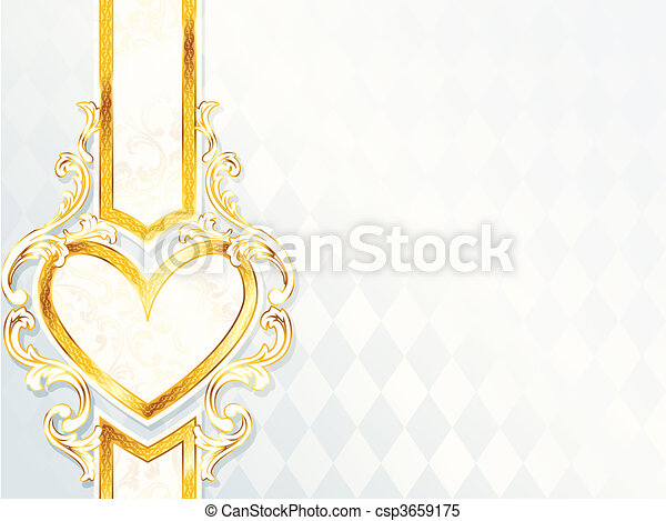 Rococo wedding banner with a heart - csp3659175