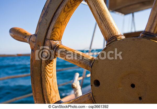 yacht journey, steering wheel - csp3661392