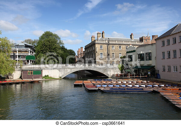 View of the river Cam in Cambridge complete with iconic punts tied at the side of the river waiting to hired. - csp3661641