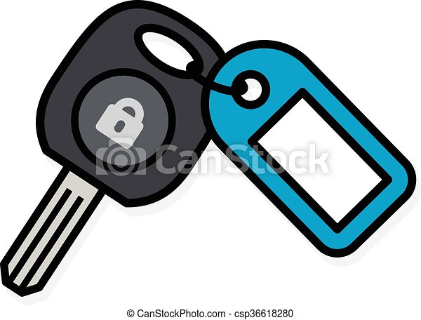 Car key with a colorful blue plastic tag - csp36618280