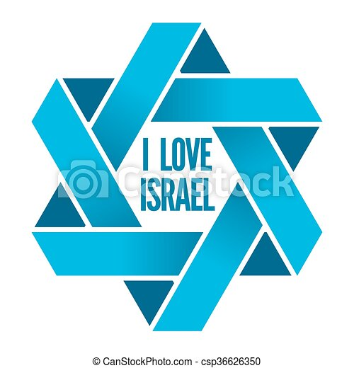 Clipart Vector of Israel or Judaism logo with Magen David sign ...