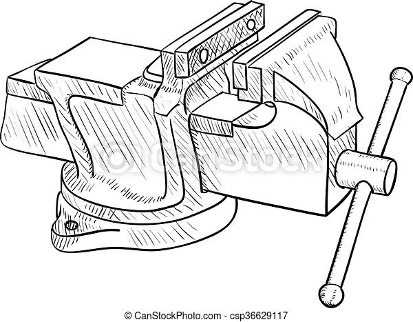 Vector Clip Art of Vise, Hand Tool - Vector drawing of the old ...