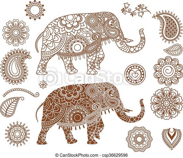 eps vektoren von muster indische elefant mehendi indische elefant mit csp36629596. Black Bedroom Furniture Sets. Home Design Ideas