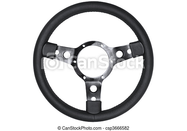 Leather steering wheel isolated - csp3666582