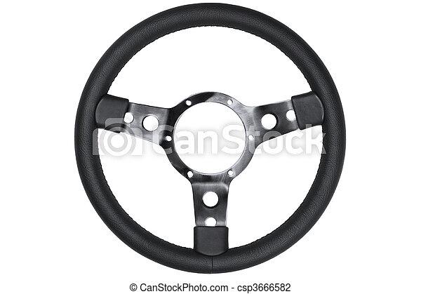 Leather steering wheel isolated - csp3666582