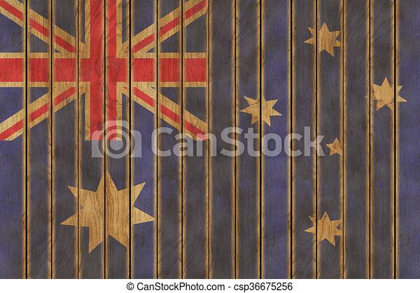 Wooden Australian Flag - csp36675256