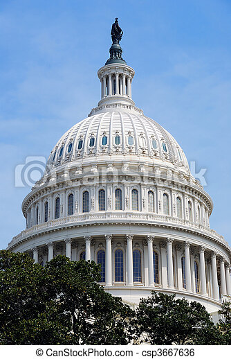 Capitol Hill Building dome closeup, Washington DC - csp3667636