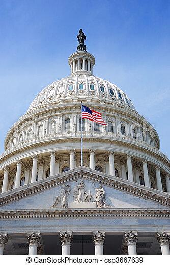 州議會大廈, 華盛頓,  DC, 我們, 旗, 小山 - csp3667639