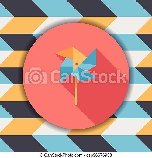 Windmill flat icon with long shadow - csp36676958