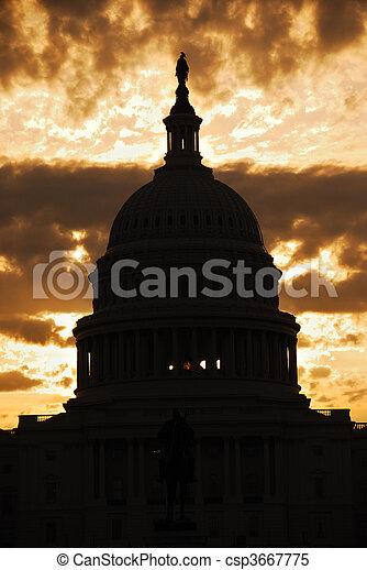 Capitol Hill Building dome silhouette, Washington DC - csp3667775