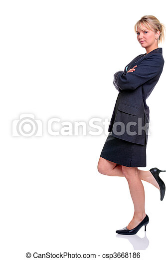 Blond businesswoman in suit leaning - csp3668186