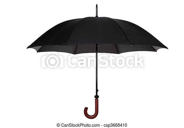 Black umbrella isolated - csp3668410