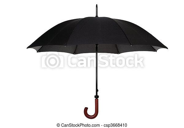 Black umbrella isolated - csp3668410