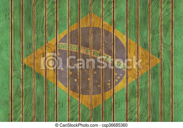 Wooden Brazilian Flag - csp36685360