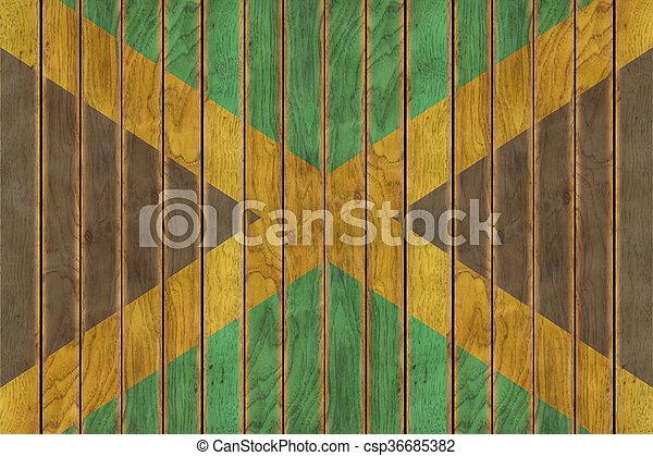 Wooden Jamaican Flag - csp36685382
