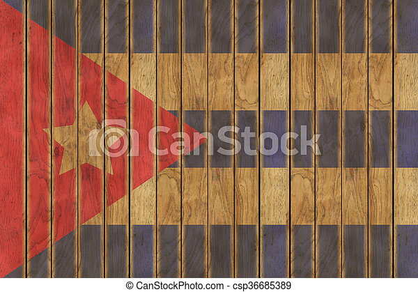 Wooden Cuban Flag - csp36685389