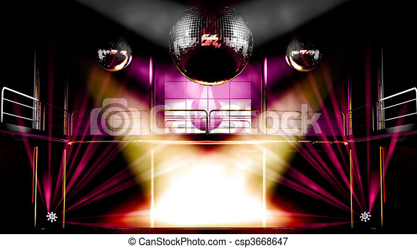 Night club discotheque colorful lights and disco balls - csp3668647