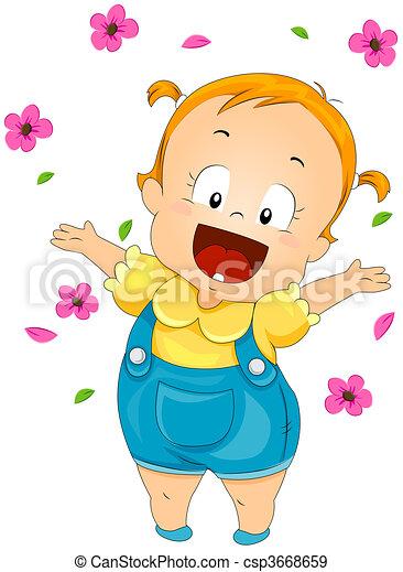 Toddler throwing Flowers - csp3668659