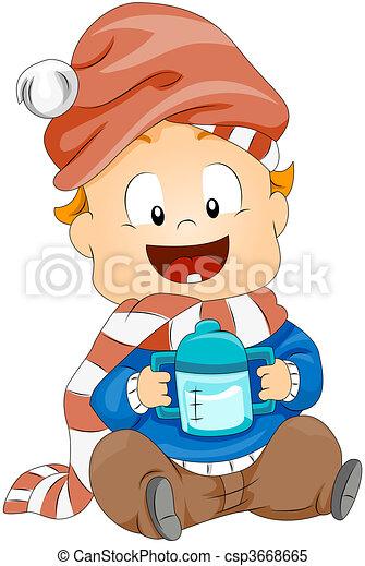 Toddler holding Milk Bottle - csp3668665
