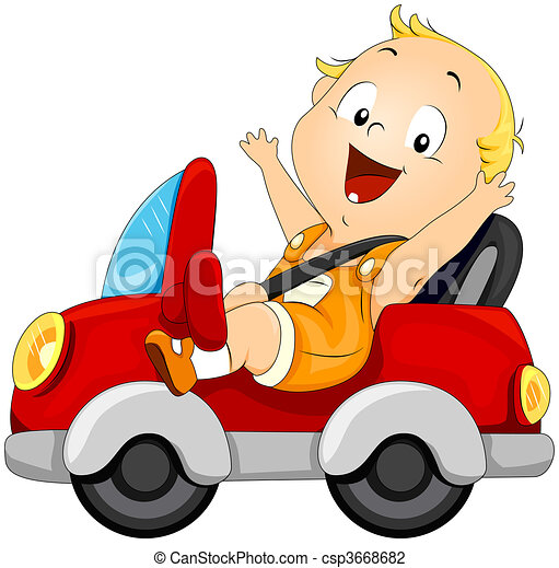Baby driving Car - csp3668682