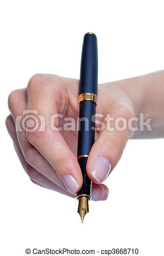 Womans hand writing with fountain pen isolated - csp3668710