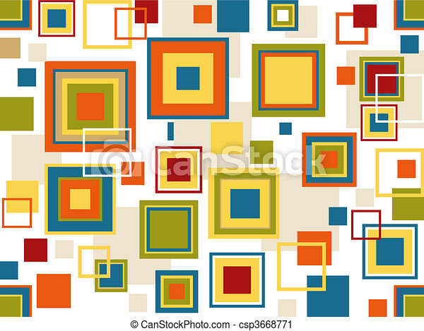 Retro Seamless Squares Background - csp3668771
