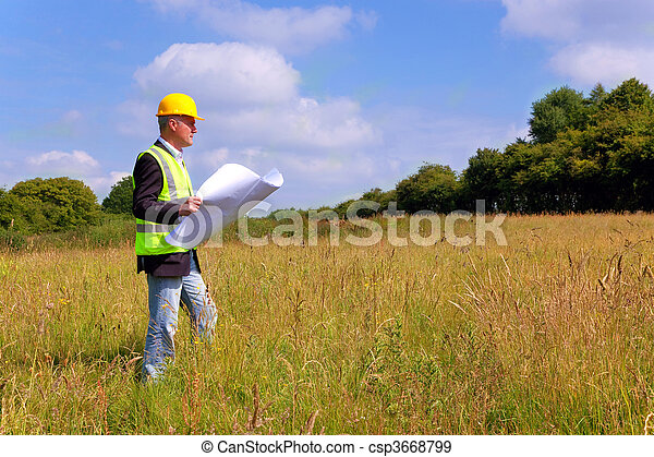 Architect surveying a new building plot - csp3668799