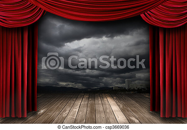 Bright Stage With Red Velvet Theater Curtains - csp3669036
