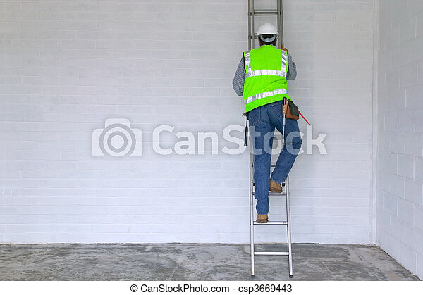 Workman climbing a ladder - csp3669443