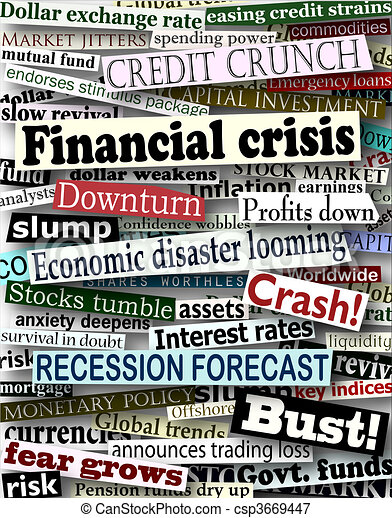 Financial crisis headlines - csp3669447