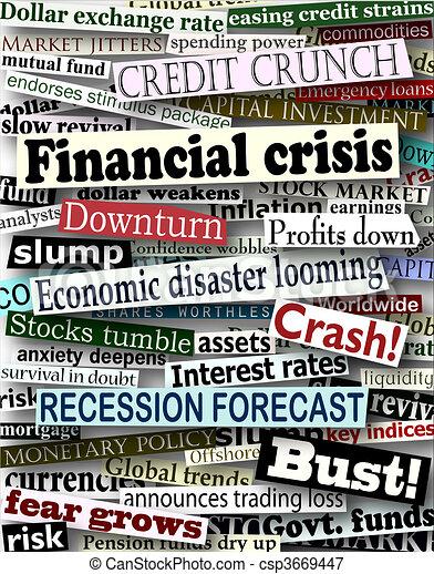 Financial crisis headlines - csp3669447