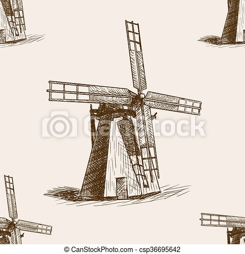 Windmill hand drawn sketch seamless pattern vector - csp36695642