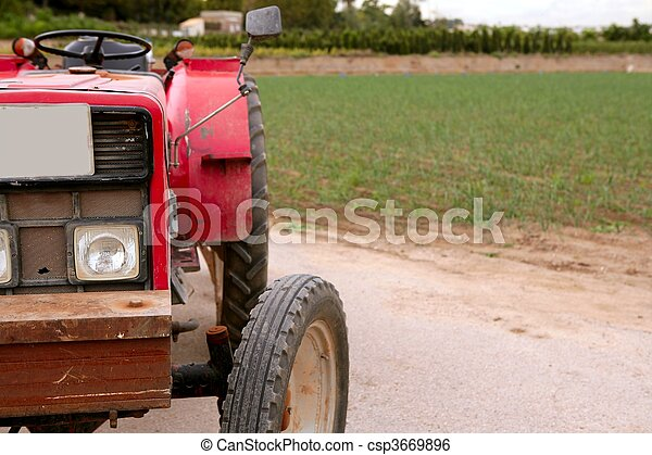Agriculture aged red tractor  retro vintage machine - csp3669896