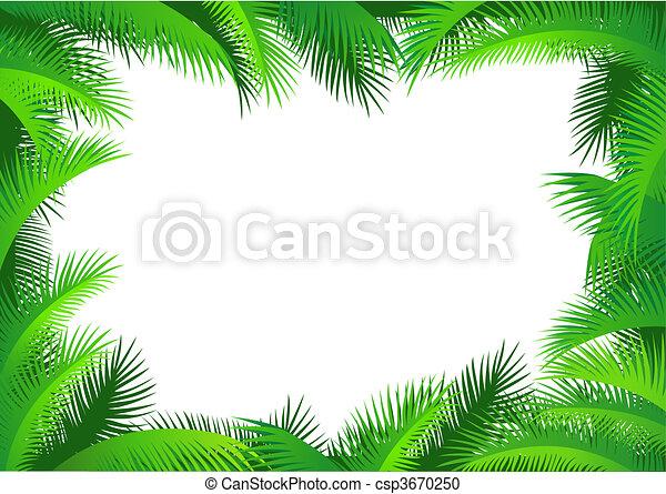 Green Leaf Border Line Palm leaf border - csp3670250