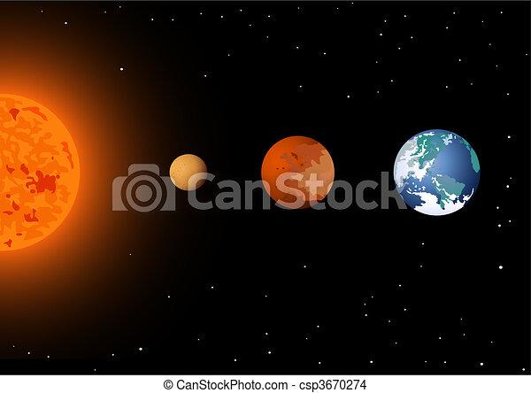 Sun, mercury, Venus & earth - csp3670274