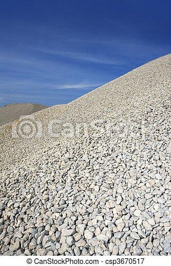 gravel gray mound quarry stock blue sky - csp3670517