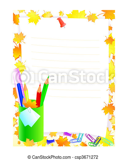 school supplies with frame - csp3671272