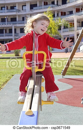 little girl preschool playing park playground - csp3671549