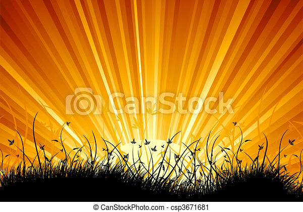 Amazing natural sunrise landscape with grass silhouette - csp3671681