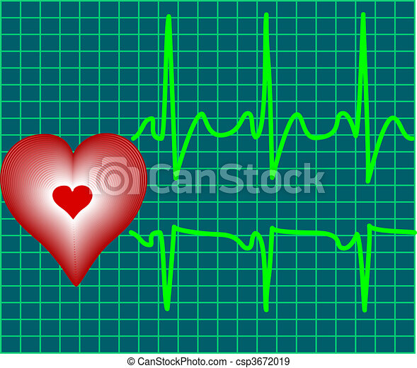 heart and heartbeat symbol - csp3672019