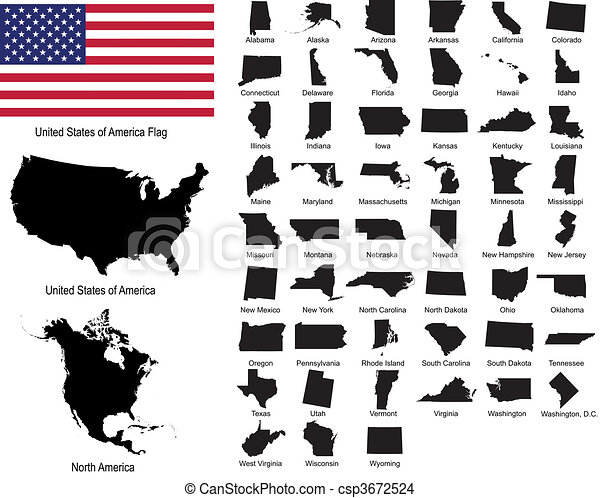 Vectors of USA states - csp3672524