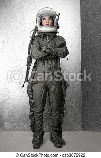 astronaut fashion stand woman space suit helmet - csp3672922
