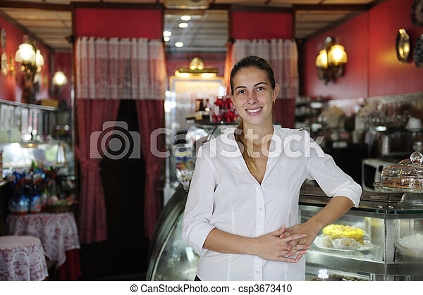 small business: proud female owner of a cafe - csp3673410