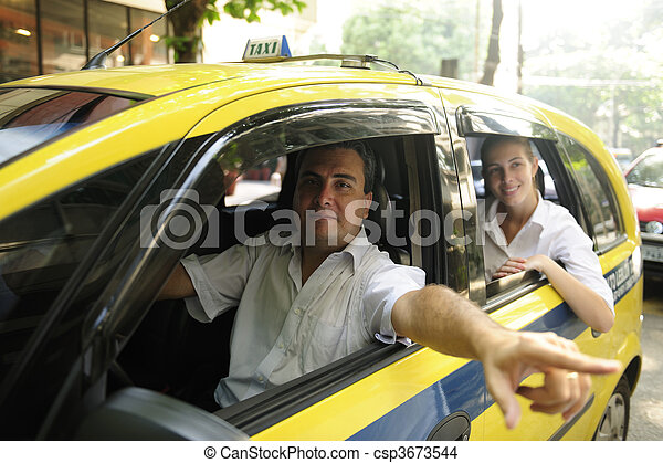 taxi driver showing passenger a landmark - csp3673544