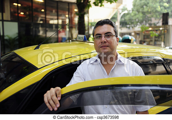 portrait of a taxi driver with cab - csp3673598