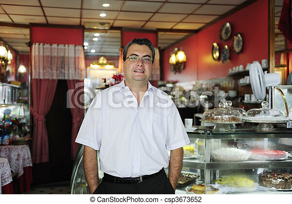owner of a small business/ cake store/ cafe - csp3673652